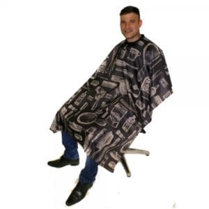 vintage barber gown charcoal